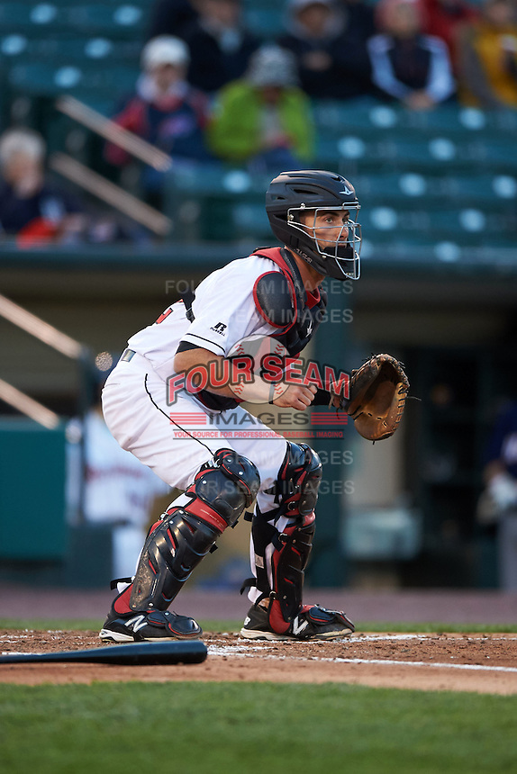 Rochester Red Wings catcher Eric Fryer (22) during a game against the Toledo Mudhens on May 12, 2015 at Frontier Field in Rochester, New York.  Toledo defeated Rochester 8-0.  (Mike Janes/Four Seam Images)