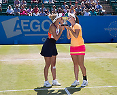 June 18th 2017, Nottingham, England;WTA Aegon Nottingham Open Tennis Tournament;  Monique Adamczak and Storm Sanders of Australia with the winners trophy after beating Jocelyn Rae and Laura Robson of Great Britain in the ladies WTA Doubles final