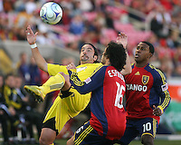 Columbus Crew Defender Gino Padula (4), Real Salt Lake Forwards Robbie Findley (10) and Fabian Espindola (16) in the Real Salt Lake 1-0 win over Columbus Crew in Game 1 of the Semi-Finals of the MLS Playoffs on October 31, 2009 at  Rio Tinto Stadium in Sandy, Utah