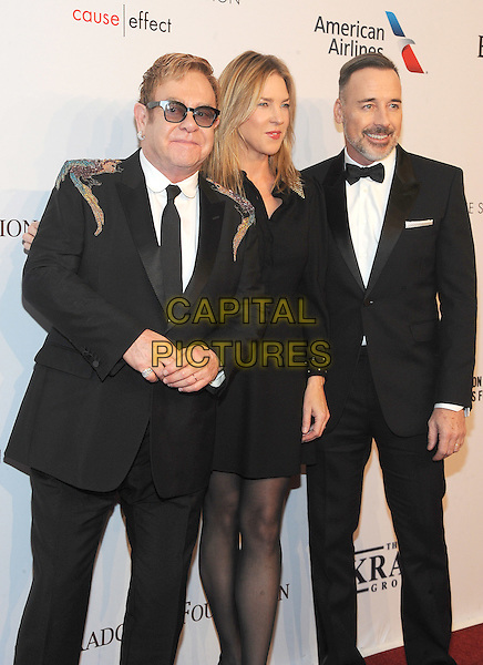NEW YORK, NY - NOVEMBER 02: Elton John, Diana Krall and David Furness attend 15th Annual Elton John AIDS Foundation An Enduring Vision Benefit at Cipriani Wall Street on November 2, 2016 in New York City.<br /> CAP/MPI/JP<br /> &copy;JP/MPI/Capital Pictures