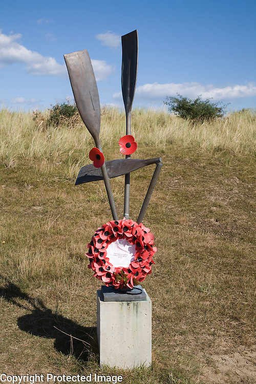 Memorial to Dutch canoeists who attempted to escape wartime Holland in 1941, Sizewell beach, Suffolk, England