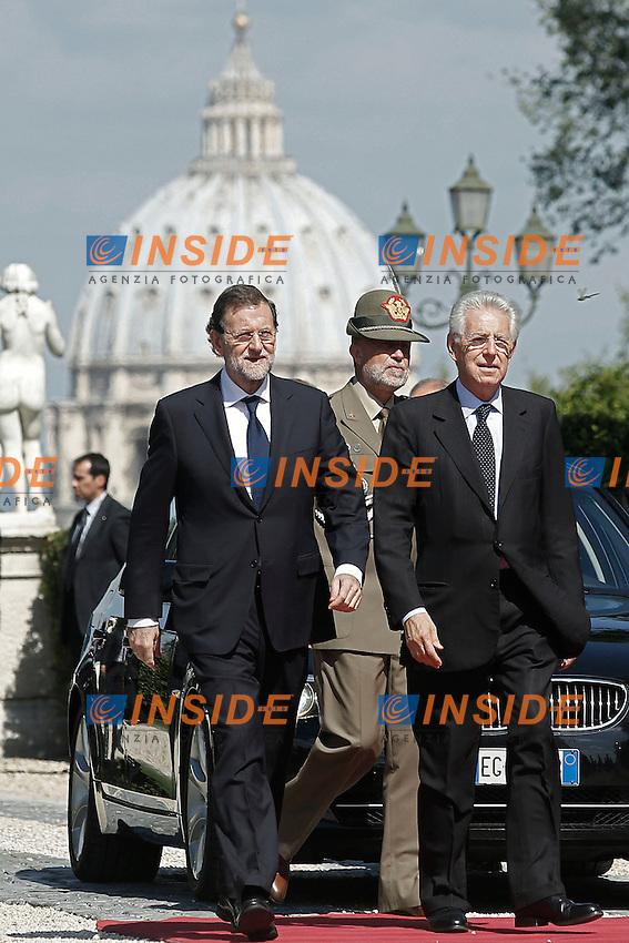 Mariano Rajoy e Mario Monti .Roma 21/09/2012 Villa Pamphilj - Incontro tra il Presidente del Consiglio Italiano, e il  il Primo Ministro Spagnolo..Foto Serena Cremaschi Insidefoto