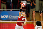 29 APR 2012:  Pat Barry (13) of Carthage College spikes the ball over Angel Perez (15) of Springfield College during the Division III Men's Volleyball Championship held at Blake Arena in Springfield, MA.  Springfield defeated Carthage 3-0 to win the national title.  Jessica Rinaldi/NCAA Photos