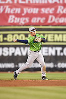 Lynchburg Hillcats second baseman Dillon Persinger (9) makes a throw during a game against the Salem Red Sox on May 10, 2018 at Haley Toyota Field in Salem, Virginia.  Lynchburg defeated Salem 11-5.  (Mike Janes/Four Seam Images)