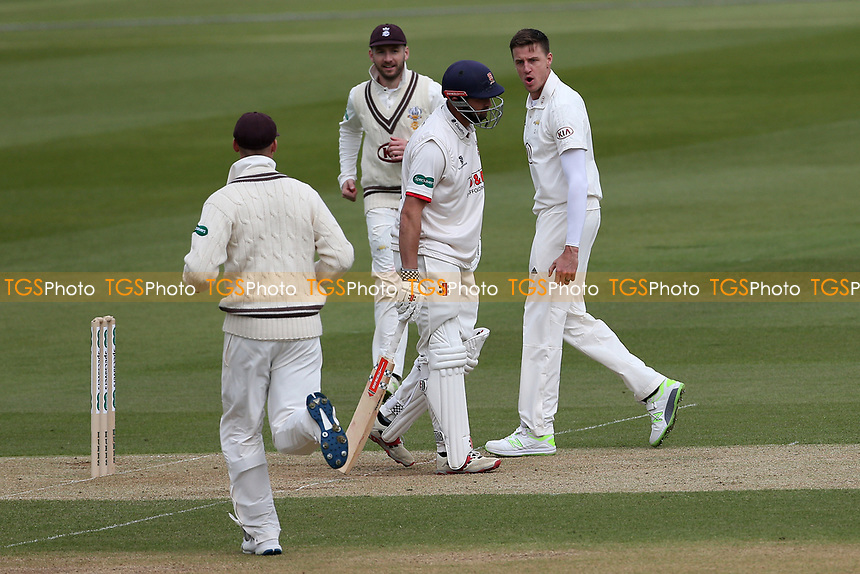 Morne Morkel of Surrey celebrates taking the wicket of Nick Browne during Surrey CCC vs Essex CCC, Specsavers County Championship Division 1 Cricket at the Kia Oval on 12th April 2019