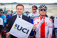 Picture by Alex Whitehead/SWpix.com - 24/09/2017 - Cycling - 2017 UCI Road World Championships, Day 8 - Bergen, Norway - UCI President David Lappartient and Poland's Michal Kwiatkowski during the Elite Men's Road Race.