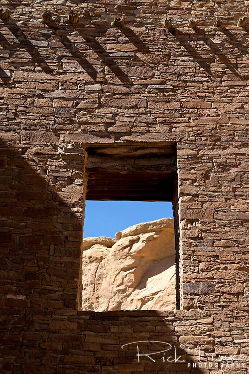 Window at Pueblo Bonito ruins at Chaco Culture National Historic Park in New Mexico.