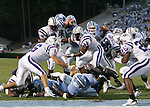 16 September 2006: North Carolina's Ronnie McGill (25, below) rolls onto his back to score his second touchdown of the game. The University of North Carolina Tarheels defeated the Furman University Paladins 45-42 at Kenan Stadium in Chapel Hill, North Carolina in an NCAA College Football game.