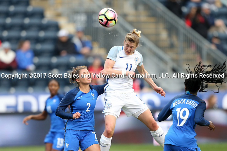 CHESTER, PA - MARCH 01: Ellen White (ENG) (11) heads the ball over Eve Perisset (FRA) (2). The England Women's National Team played the France Women's National Team as part of the She Believes Cup on March, 1, 2017, at Talen Engery Stadium in Chester, PA. The France won the game 2-1.