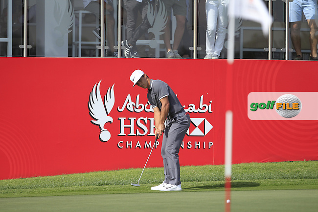 Thorbjorn Olesen (DEN) on the 18th green during Round 3 of the Abu Dhabi HSBC Championship on Saturday 21st January 2017.<br /> Picture:  Thos Caffrey / Golffile<br /> <br /> All photo usage must carry mandatory copyright credit    ( &copy; Golffile | Thos Caffrey)