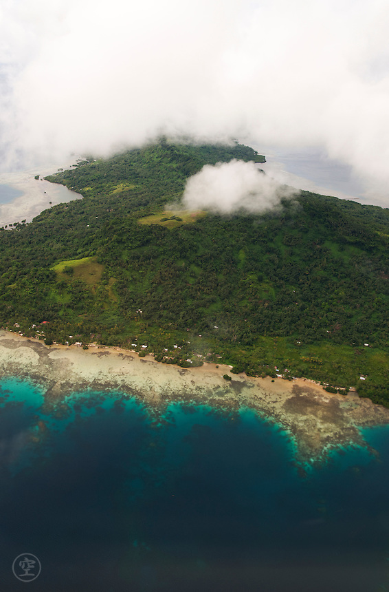 Kosrae, Micronesia, from the air.
