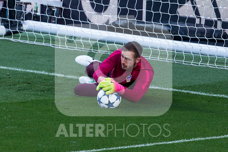 Jan Oblak of Atletico de Madrid during the training before the match of Champions League between Real Madrid and Atletico de Madrid at Santiago Bernabeu Stadium  in Madrid, Spain. May 01, 2017. (ALTERPHOTOS/Rodrigo Jimenez)