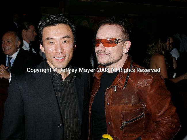 WEST HOLLYWOOD, CA. - February 08: David Eun, V.P. Google of Content Patnerships an Musician Bono of U2.Vice President, Content Partnerships  attend the Universal Music Group Chairman Doug Morris' Grammy Awards Viewing Dinner at The Palm on February 8, 2009 in West Hollywood, California.