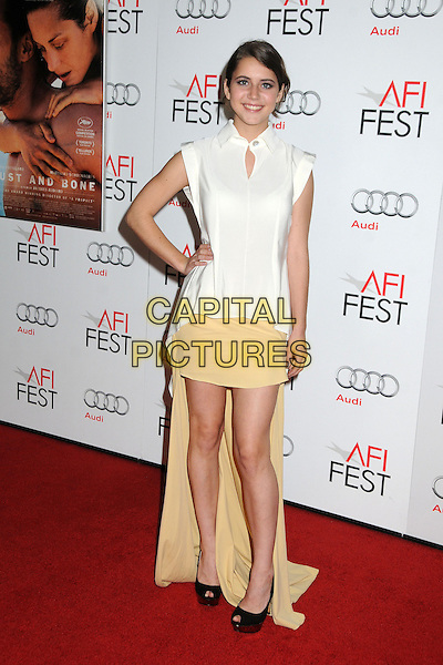 "Tessa Ia.AFI FEST 2012 ""Rust And Bone"" Centerpiece Gala Screening held at the Egyptian Theatre, Hollywood, California, USA.  .November 5th, 2012.full length top skirt yellow train hand on hip white black peep toe shoes .CAP/ADM/BP.©Byron Purvis/AdMedia/Capital Pictures."