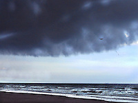 Dramatic storm clouds over the sea