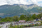 The peloton climb the Madonna del Ghisallo during Stage 15 of the 2019 Giro d'Italia, running 232km from Ivrea to Como, Italy. 26th May 2019<br /> Picture: Fabio Ferrari/LaPresse | Cyclefile<br /> <br /> All photos usage must carry mandatory copyright credit (© Cyclefile | Fabio Ferrari/LaPresse)