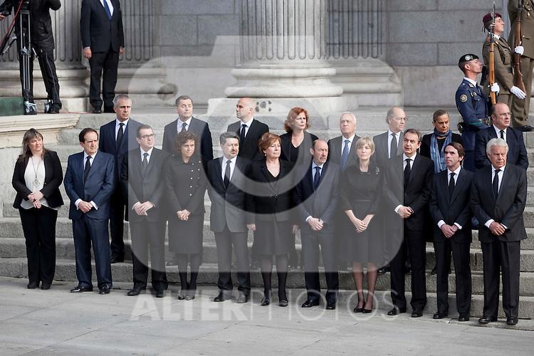 Former presidents Jose Luis Rodriguez Zapatero (3R), Jose Maria Aznar (2R) and Felipe Gonzalez (R) attend former President Adolfo Suarez funeral chapel in Madrid, Spain. March 24, 2014. (ALTERPHOTOS/Victor Blanco)