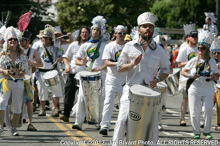 Drummers march during the 25th  Annual Fremont Summer Solstice Parade in Seattle on June 22, 2013.      UPI Photo/Jim BryantPainted nude bicyclists  ride during the 25th  Annual Fremont Summer Solstice Parade in Seattle on June 22, 2013.     ©2013.  Jim Bryant.  ALL RIGHTS RESERVED.