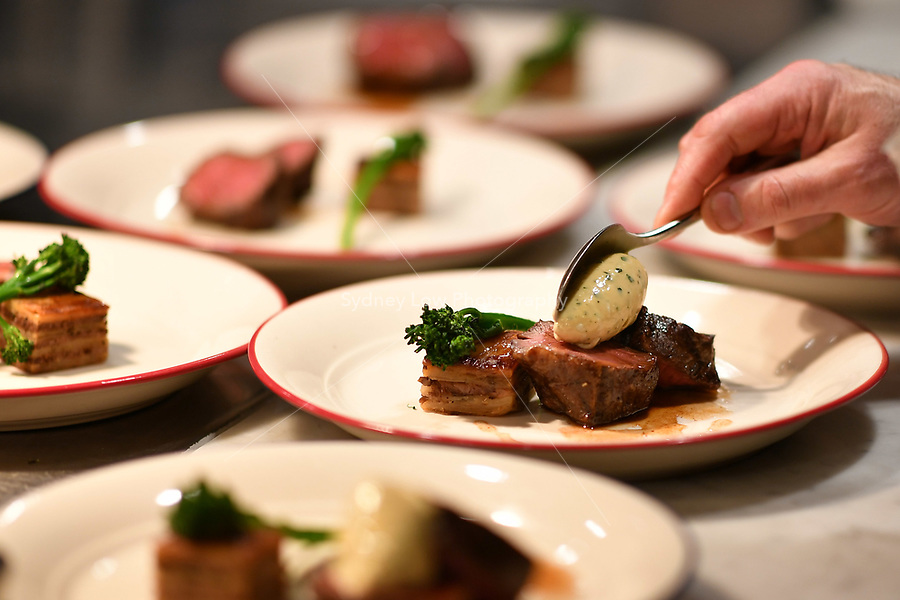 A dish of wagyu rump cap from Mayura Station with a roquefort sabayon and pomme de terre boulangére at a dinner featuring Will Studd and Philippe Mouchel at Philippe Restaurant in Melbourne, Australia on 12 September 2017. Photo Sydney Low