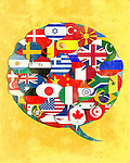 Illustrative image of  various country flags in chat bubble representing global networking