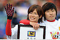 (L-R) Nahomi Kawasumi,  Ji So-Yun (Leonessa),.JANUARY 1, 2012 - Football / Soccer :.Nahomi Kawasumi and Ji So-Yun of INAC Kobe Leonessa celebrate after winning the 33rd All Japan Women's Football Championship final match between INAC Kobe Leonessa 3-0 Albirex Niigata Ladies at National Stadium in Tokyo, Japan. (Photo by Takamoto Tokuhara/AFLO)