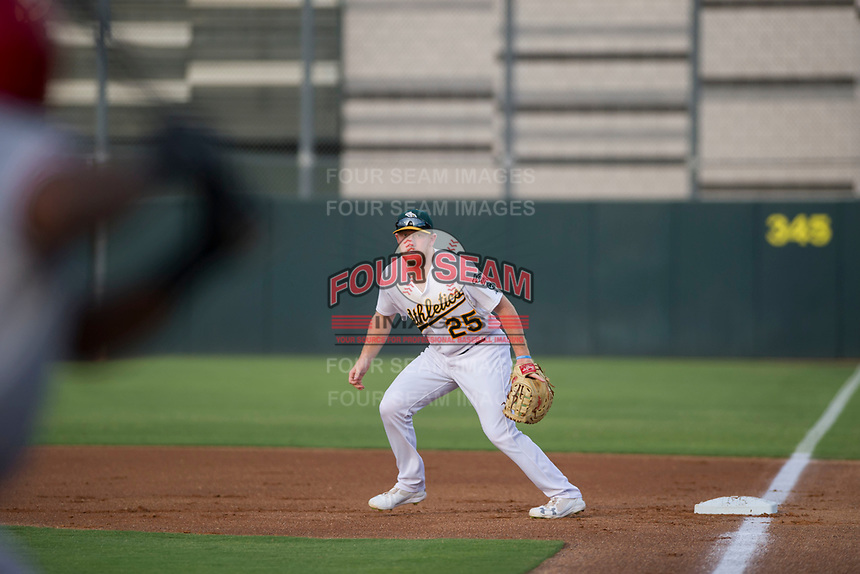AZL Athletics first baseman Hunter Hargrove (25) on defense against the AZL Reds on July 16, 2017 at Lew Wolff Training Complex in Mesa, Arizona. AZL Athletics defeated the AZL Reds 13-5. (Zachary Lucy/Four Seam Images)