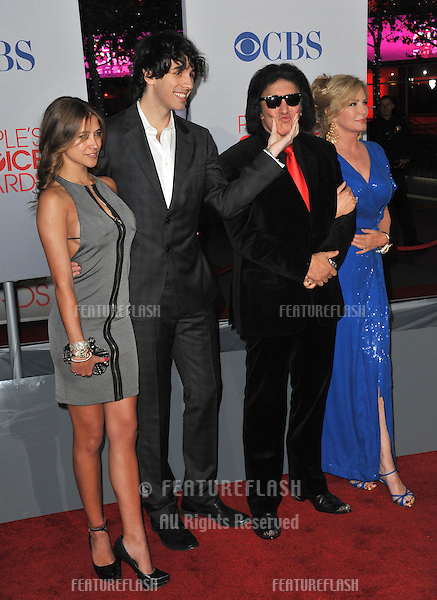 KISS star Gene Simmons & wife Shannon Tweed & son Nick Simmons & girlfriend Rochelle Hathaway at the 2012 People's Choice Awards at the Nokia Theatre L.A. Live..January 11, 2012  Los Angeles, CA.Picture: Paul Smith / Featureflash
