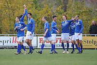 VOETBAL: BOLSWARD: 22-11-2014, SC Bolsward - VV Nijland, uitslag 0-3, Nico Pieter Bonnema (#9) scoort de 0-2, ©foto Martin de Jong