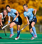 25 October 2009: Columbia University Lion forward Jane Gartland (8), a Senior from Media, PA and midfielder/forward Maggie O'Connor (11), a Sophomore from Shaker Heights, Ohio in action against the University of Vermont Catamounts at Moulton Winder Field in Burlington, Vermont. The Lions shut out the Catamounts 1-0. Mandatory Credit: Ed Wolfstein Photo