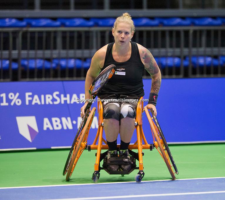 Rotterdam,Netherlands, December 17, 2015,  Topsport Centrum, Lotto NK Tennis, Wheelchair Tennis, Michaela Spaanstra (NED)<br /> Photo: Tennisimages/Henk Koster