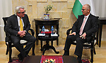 Palestinian Prime Minister Rami Hamdallah meets with Norwegian envoy for the Middle East peace process, Tor Wennesland, in the West Bank city of Ramallah, February 19, 2019. Photo by Prime Minister Office