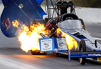 Mar 18, 2018; Gainesville, FL, USA; NHRA top fuel driver Terry Haddock suffers an engine fire during the Gatornationals at Gainesville Raceway. Mandatory Credit: Mark J. Rebilas-USA TODAY Sports