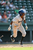 Designated hitter Shael Mendoza (21) of the Asheville Tourists bats in a game against the Greenville Drive on Sunday, June 3, 2018, at Fluor Field at the West End in Greenville, South Carolina. Greenville won, 7-6. (Tom Priddy/Four Seam Images)