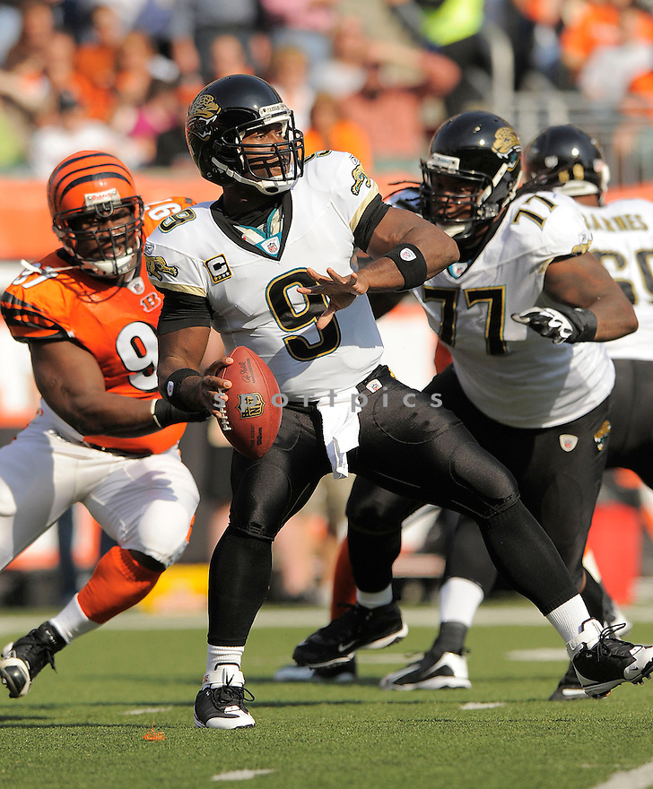 DAVID GARRARD, of the Jacksonville Jaguars, in action against the Cincinnati Bengals during the Bengals game in Cincinnati, OH on Novmeber 12, 2008. ..Bengals win 21-19