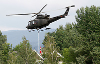 (Oslo July 23, 2011) Prime Minister Jens Stoltenberg leaves in helicopter from Sundvollen, near Ut&oslash;ya, the day after a shooting spree by a lone gunman who killed over 80 youths at a political camp.  <br /> <br /> A large vehicle bomb was detonated near the offices of Norwegian Prime Minister Jens Stoltenberg on 22 July 2011. Although Stoltenberg was reportedly unharmed the blast resulted in several injuries and deaths. <br /> Another terrorist attack took place shortly afterwards, where a man killed over 80 children and youths attending a political camp at Ut&oslash;ya island. <br /> <br /> Anders Behring Breivik was arrested on the island and has admitted to carrying out both attacks.<br /> (photo:Fredrik Naumann/Felix Features)