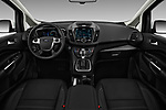 Stock photo of straight dashboard view of a 2017 Ford C-Max Hybrid Titanium 5 Door Mini Van