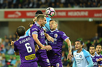 Melbourne, 23 April 2017 - DINO DJULBIC (6) of the Glory heads the ball in the Elimination Final 2 of the A-League between Melbourne City and Perth Glory at AAMI Park, Melbourne, Australia. Perth won 2-0. Photo Sydney Low/sydlow.com
