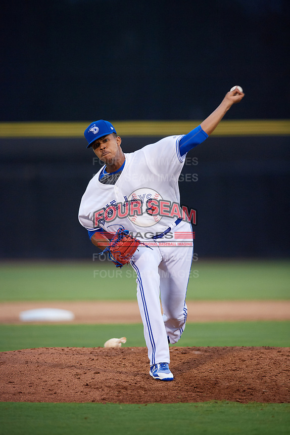 Dunedin Blue Jays relief pitcher Angel Perdomo (51) delivers a pitch during a game against the Lakeland Flying Tigers on July 31, 2018 at Dunedin Stadium in Dunedin, Florida.  Dunedin defeated Lakeland 8-0.  (Mike Janes/Four Seam Images)