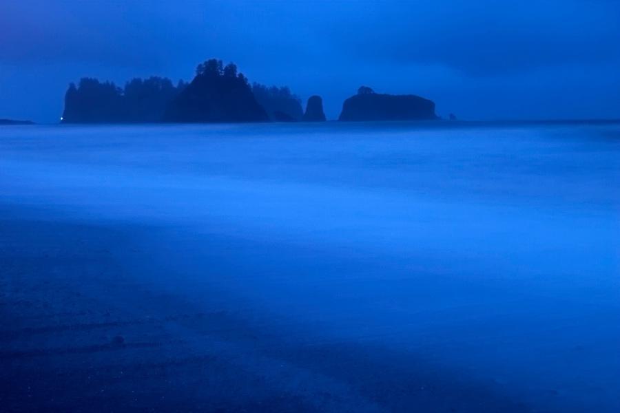 Offshore sea stacks at dusk, Rialto Beach, Olympic National Park, Olympic Peninsula, Clallam County, Washington, USA