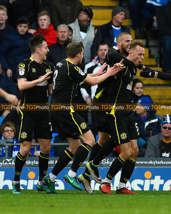 George Ray of Crewe Alexandra right celebrates with team mates after scoring the first and only goal of the match during Portsmouth vs Crewe Alexandra, Sky Bet EFL League 2 Football at Fratton Park on 4th March 2017