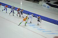SCHAATSEN: HEERENVEEN: 25-10-2014, IJsstadion Thialf, Marathonschaatsen, KPN Marathon Cup 2, Janneke Ensing (#2) en Mariska Huisman (#76) zetten aan voor Tussensprint 3, Irene Schouten (#80) volgt als 3e, ©foto Martin de Jong