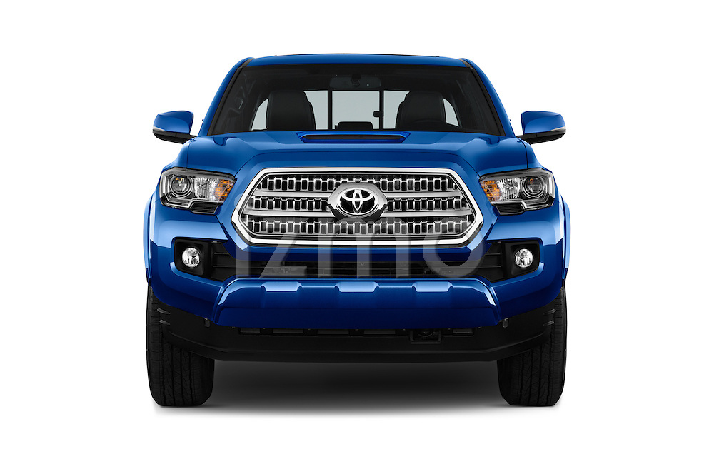 Car photography straight front view of a 2016 Toyota Tacoma TRD Sport 4 Door Pickup Front View