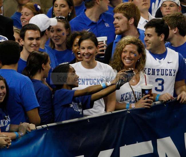 Actress and Kentucky alum, Ashley Judd, watching the Kentucky vs. UCONN game in the Final Four of the 2011 NCAA Tournament, at Reliant Stadium, on Saturday, April 2, 2011.  UCONN won 56-55. Photo by Latara Appleby | Staff