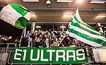 Stockholm 2015-01-30 Bandy Elitserien Hammarby IF - Sandvikens AIK :  <br /> Hammarbys supportrar med flaggor och banderoll under matchen mellan Hammarby IF och Sandvikens AIK <br /> (Foto: Kenta J&ouml;nsson) Nyckelord:  Elitserien Bandy Zinkensdamms IP Zinkensdamm Zinken Hammarby Bajen HIF Sandviken SAIK supporter fans publik supporters