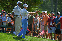 Billy Horschel (USA) points out a fan with a professional camera to security on the 6th tee during 3rd round of the 100th PGA Championship at Bellerive Country Club, St. Louis, Missouri. 8/11/2018.<br /> Picture: Golffile | Ken Murray<br /> <br /> All photo usage must carry mandatory copyright credit (&copy; Golffile | Ken Murray)
