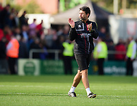 Lincoln City manager Danny Cowley applauds the fans at the final whistle<br /> <br /> Photographer Andrew Vaughan/CameraSport<br /> <br /> The EFL Sky Bet League One - Lincoln City v Fleetwood Town - Saturday 31st August 2019 - Sincil Bank - Lincoln<br /> <br /> World Copyright © 2019 CameraSport. All rights reserved. 43 Linden Ave. Countesthorpe. Leicester. England. LE8 5PG - Tel: +44 (0) 116 277 4147 - admin@camerasport.com - www.camerasport.com