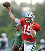 Josh McCown #15, quarterback, throws a pass during New York Jets Training Camp at Atlantic Health Jets Training Center in Florham Park, NJ on Tuesday, Aug. 1, 2017.