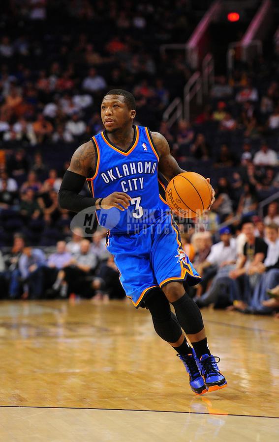 Mar. 30, 2011; Phoenix, AZ, USA; Oklahoma City Thunder guard (3) Nate Robinson against the Phoenix Suns at the US Airways Center. Mandatory Credit: Mark J. Rebilas-