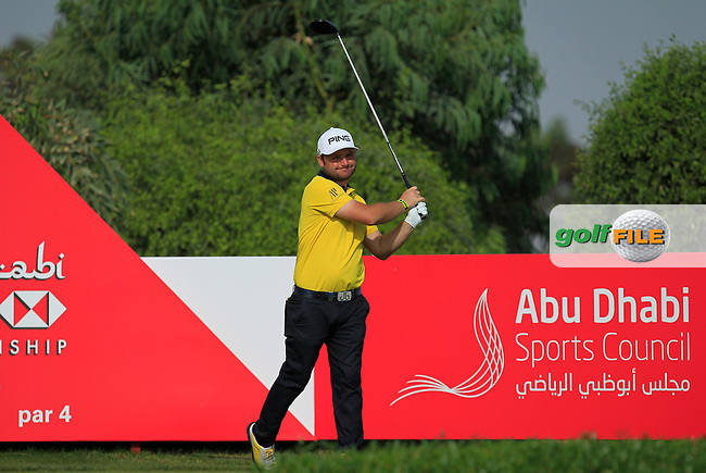 Andy Sullivan (ENG) on the 6th tee during Round 4 of the Abu Dhabi HSBC Championship on Sunday 22nd January 2017.<br /> Picture:  Thos Caffrey / Golffile<br /> <br /> All photo usage must carry mandatory copyright credit     (&copy; Golffile | Thos Caffrey)