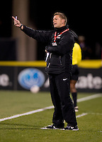 New Zealand head coach Tony Readings yells to his team during an international friendly at Crew Stadium in Columbus, OH. The USWNT tied New Zealand, 1-1.